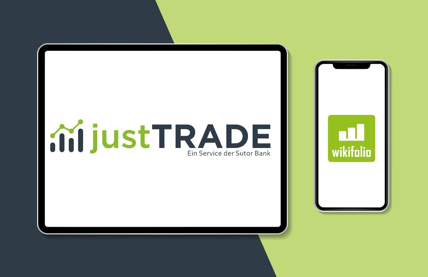 Logo JustTRADE wird in einem Tablet angezeigt. Daneben wird das Logo von wikifolio in einem Smartphone angezeigt.